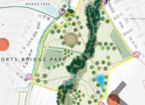 <h3>Illustration of a large park at Horts Bridge</h3>